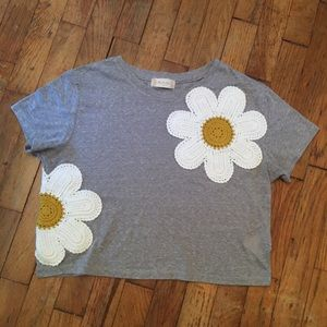 Altar'd State Crochet Daisy Gray Crop Top